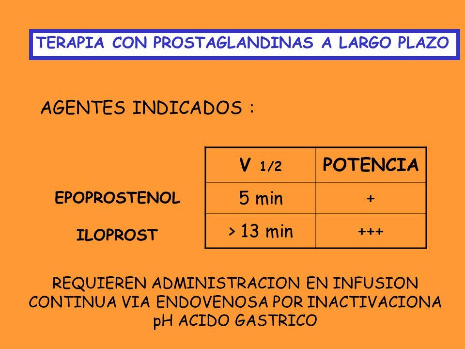 AGENTES INDICADOS : V 1/2 POTENCIA 5 min + > 13 min +++