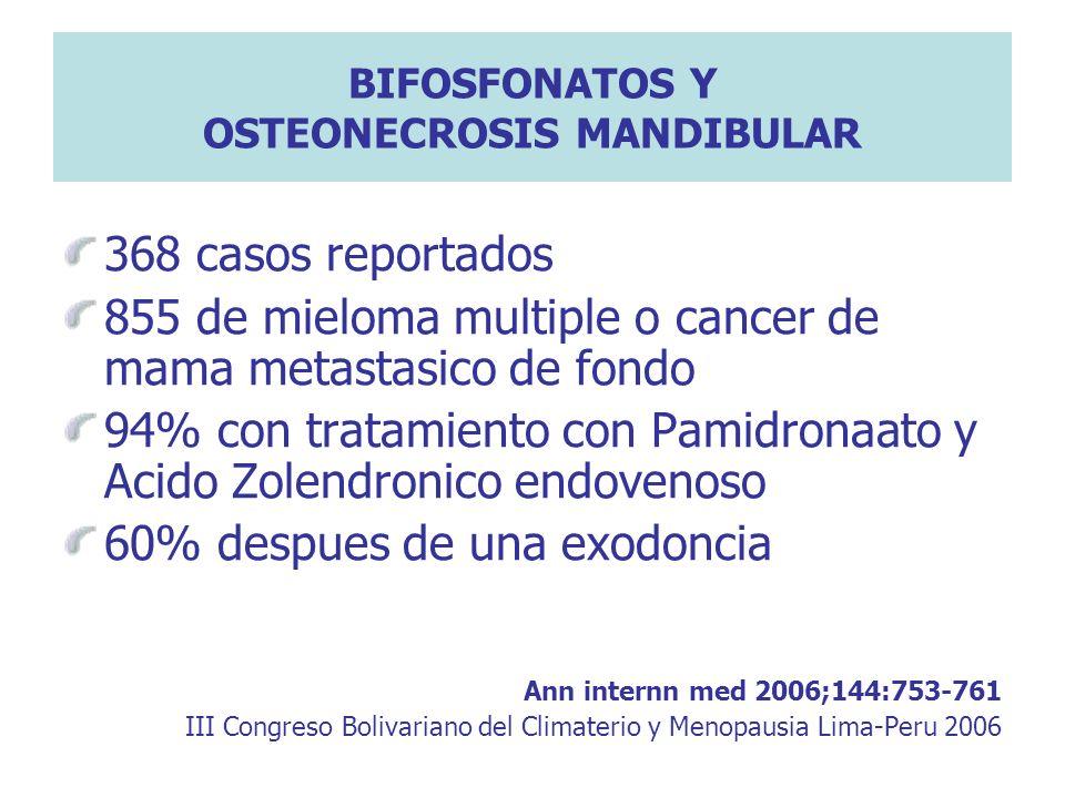 BIFOSFONATOS Y OSTEONECROSIS MANDIBULAR