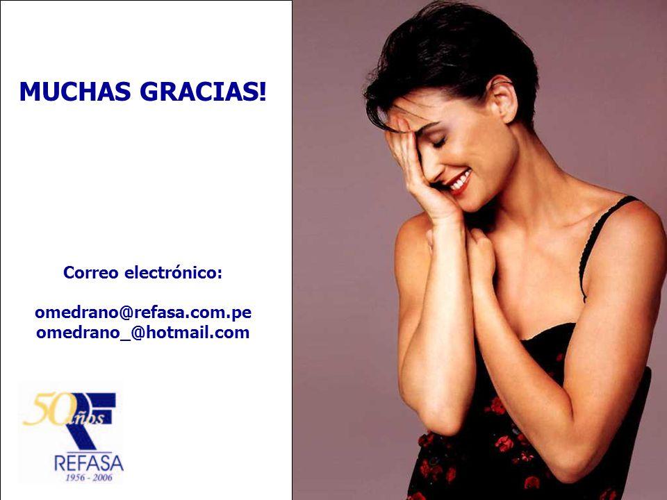 MUCHAS GRACIAS! Correo electrónico: omedrano@refasa.com.pe