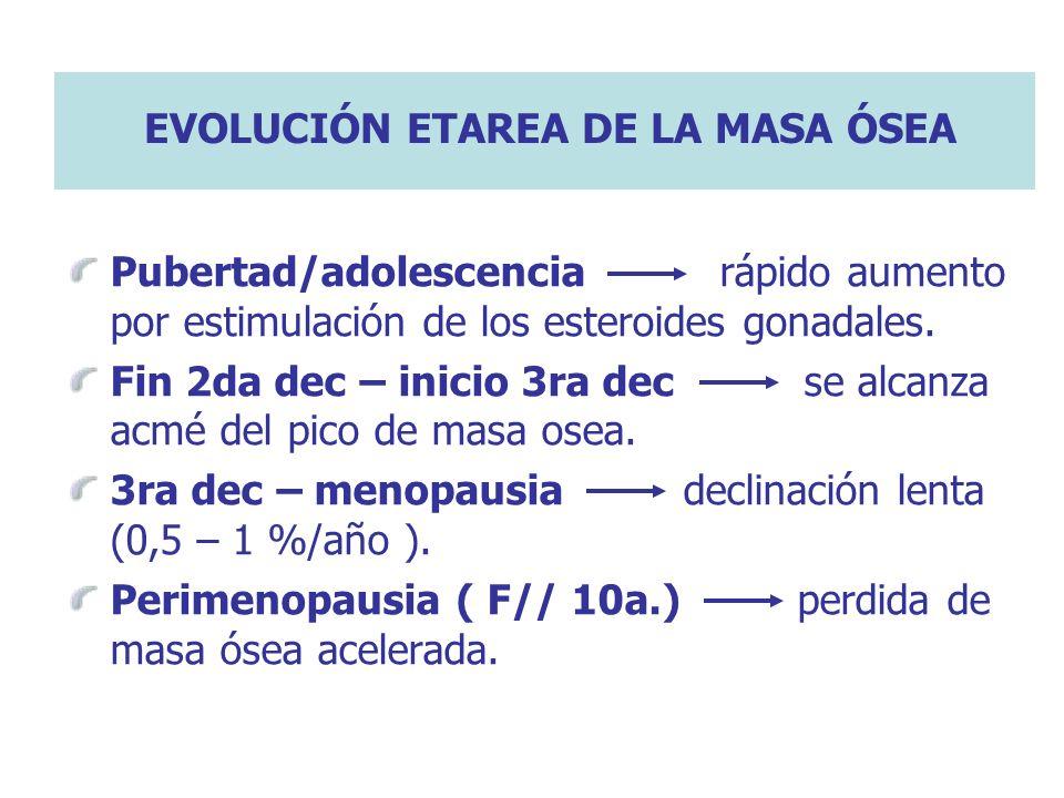 EVOLUCIÓN ETAREA DE LA MASA ÓSEA
