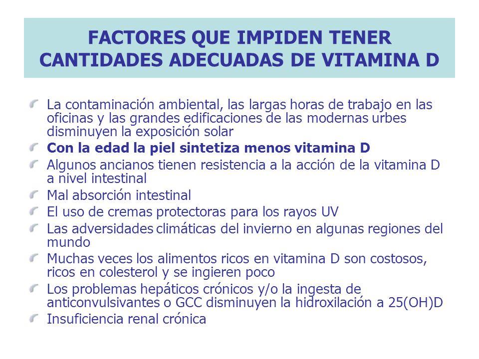 FACTORES QUE IMPIDEN TENER CANTIDADES ADECUADAS DE VITAMINA D