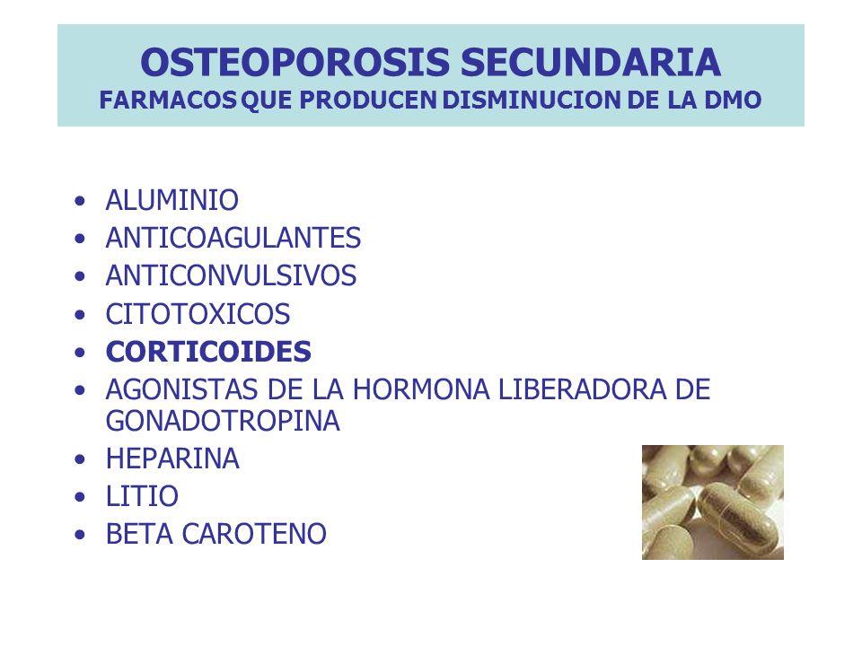 OSTEOPOROSIS SECUNDARIA FARMACOS QUE PRODUCEN DISMINUCION DE LA DMO