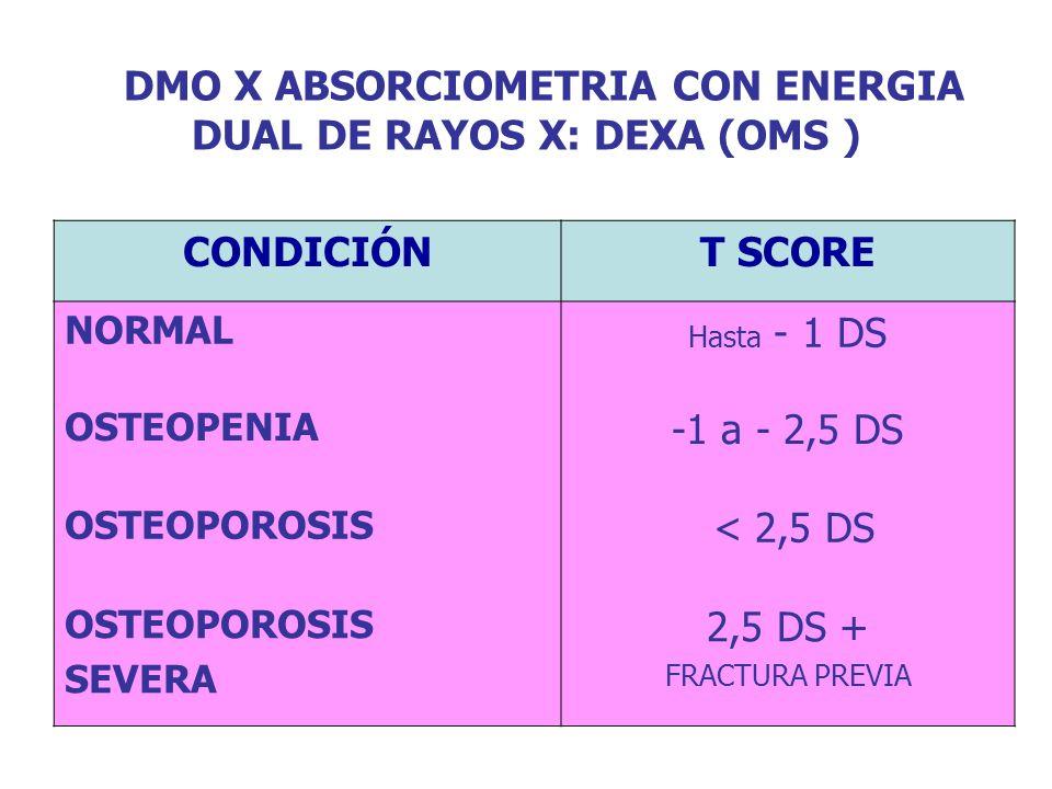 DMO X ABSORCIOMETRIA CON ENERGIA DUAL DE RAYOS X: DEXA (OMS )