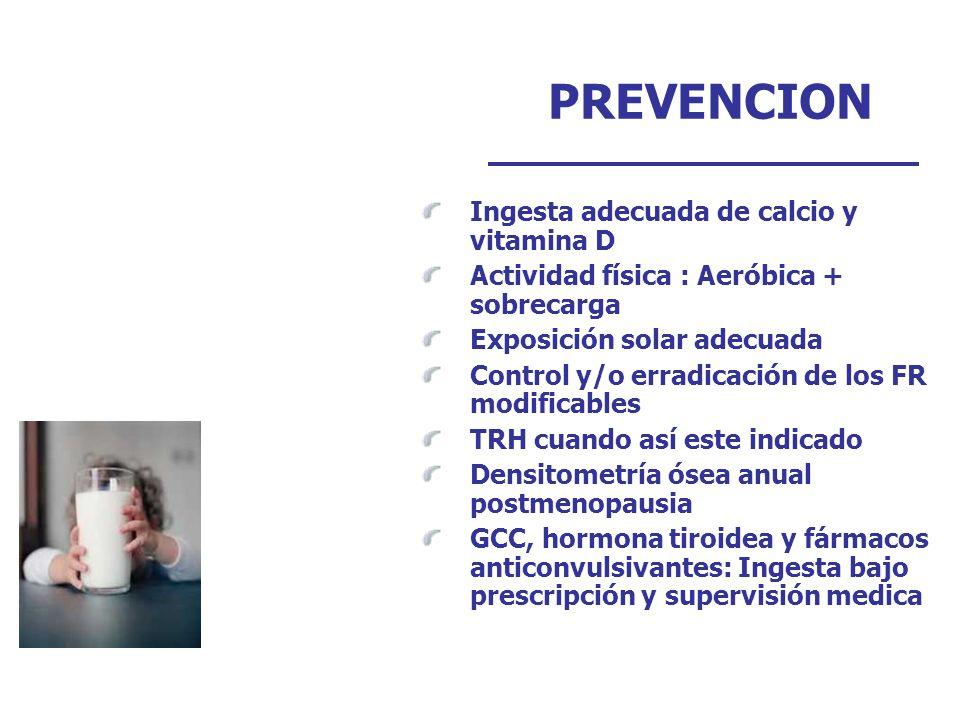 PREVENCION Ingesta adecuada de calcio y vitamina D