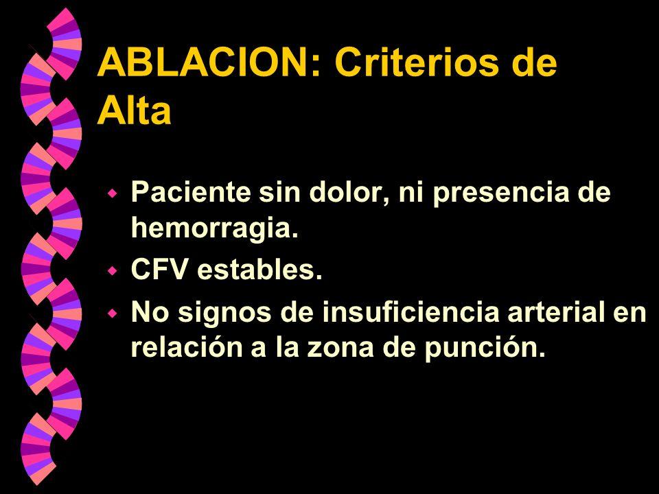 ABLACION: Criterios de Alta