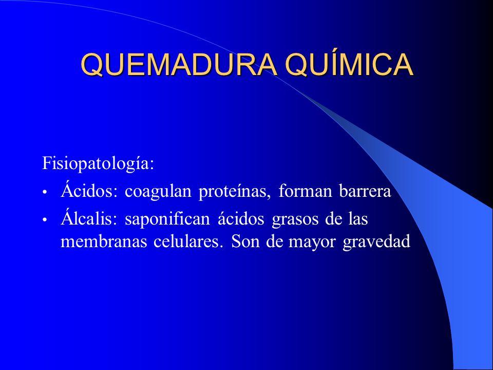 QUEMADURA QUÍMICA Fisiopatología: