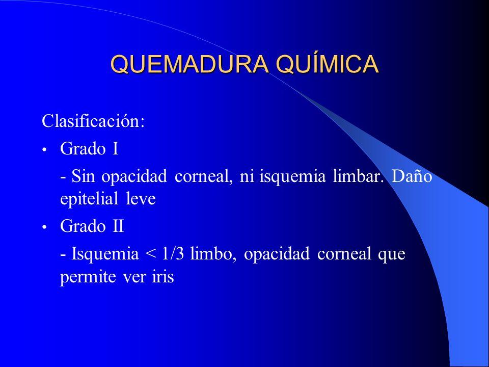 QUEMADURA QUÍMICA Clasificación: Grado I