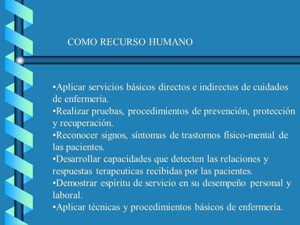 COMO RECURSO HUMANO Aplicar servicios básicos directos e indirectos de cuidados de enfermería.