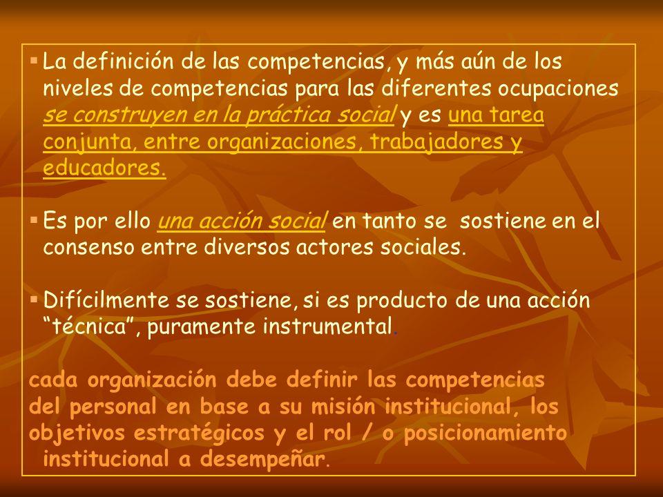 La definición de las competencias, y más aún de los niveles de competencias para las diferentes ocupaciones se construyen en la práctica social y es una tarea conjunta, entre organizaciones, trabajadores y educadores.