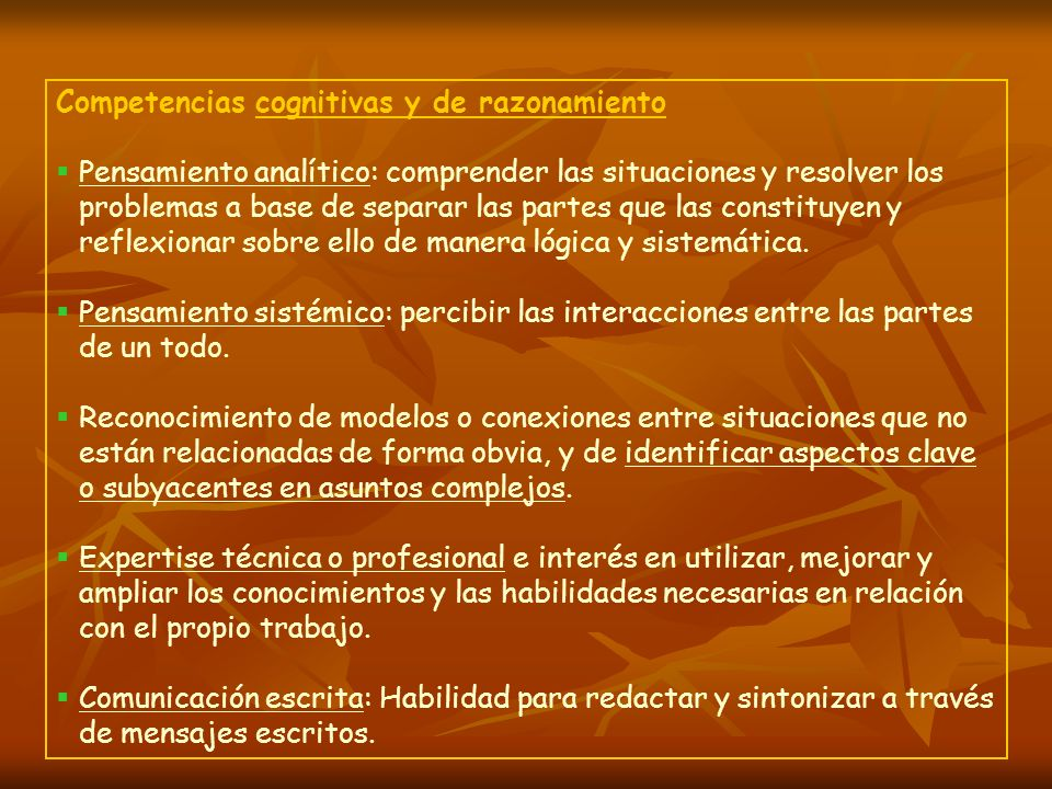 Competencias cognitivas y de razonamiento