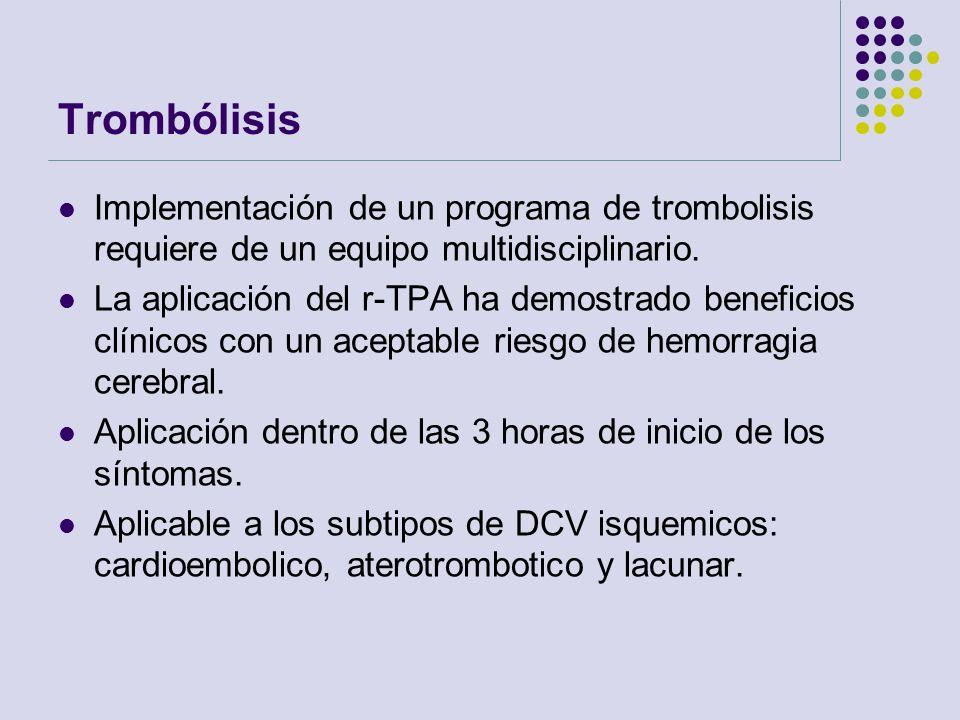 Trombólisis Implementación de un programa de trombolisis requiere de un equipo multidisciplinario.