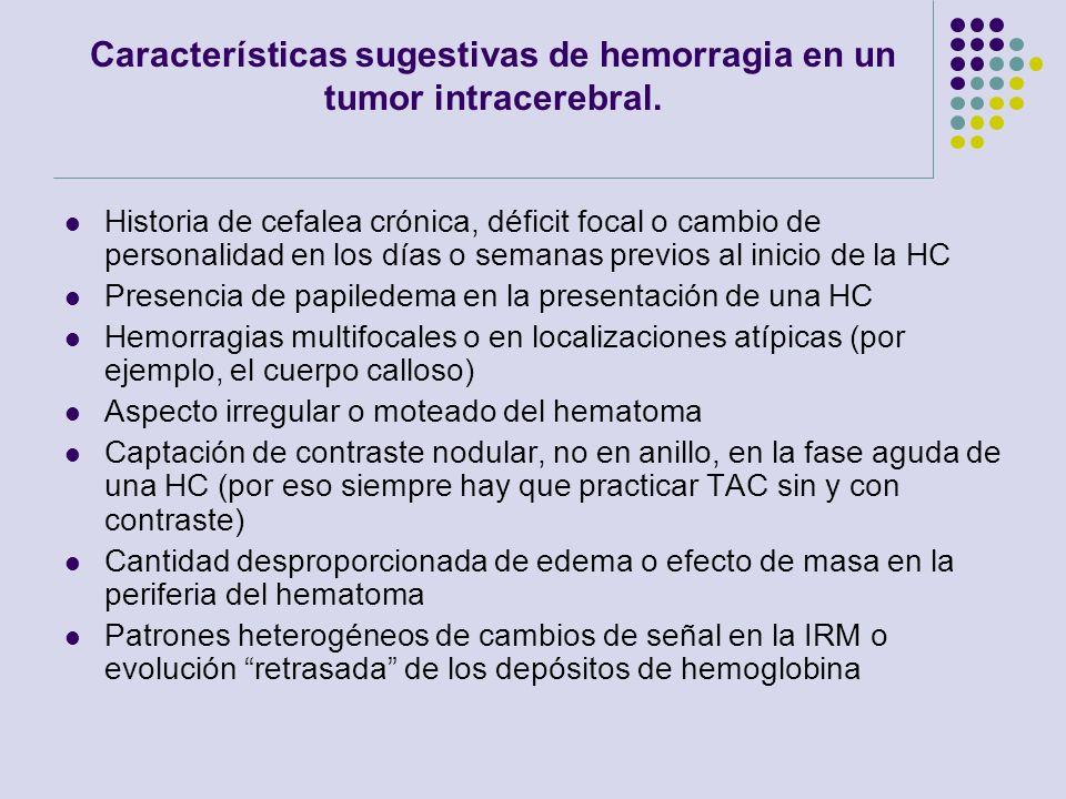 Características sugestivas de hemorragia en un tumor intracerebral.