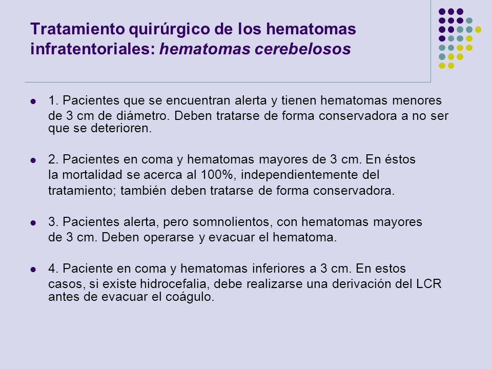Tratamiento quirúrgico de los hematomas infratentoriales: hematomas cerebelosos