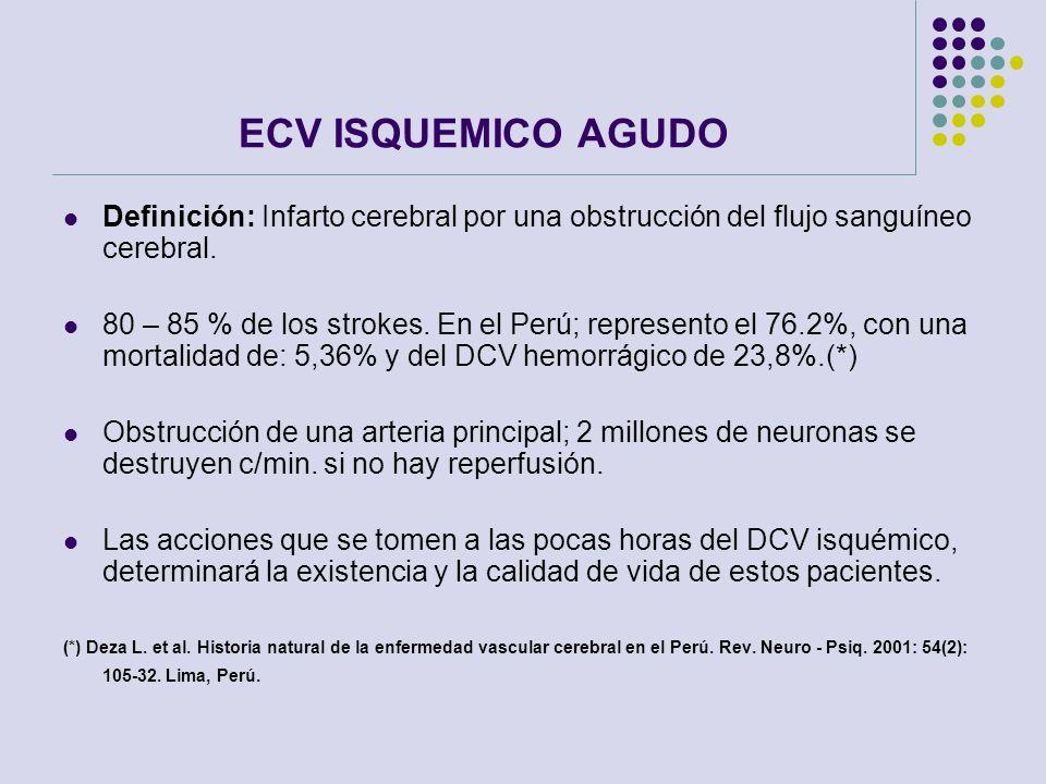 ECV ISQUEMICO AGUDO Definición: Infarto cerebral por una obstrucción del flujo sanguíneo cerebral.