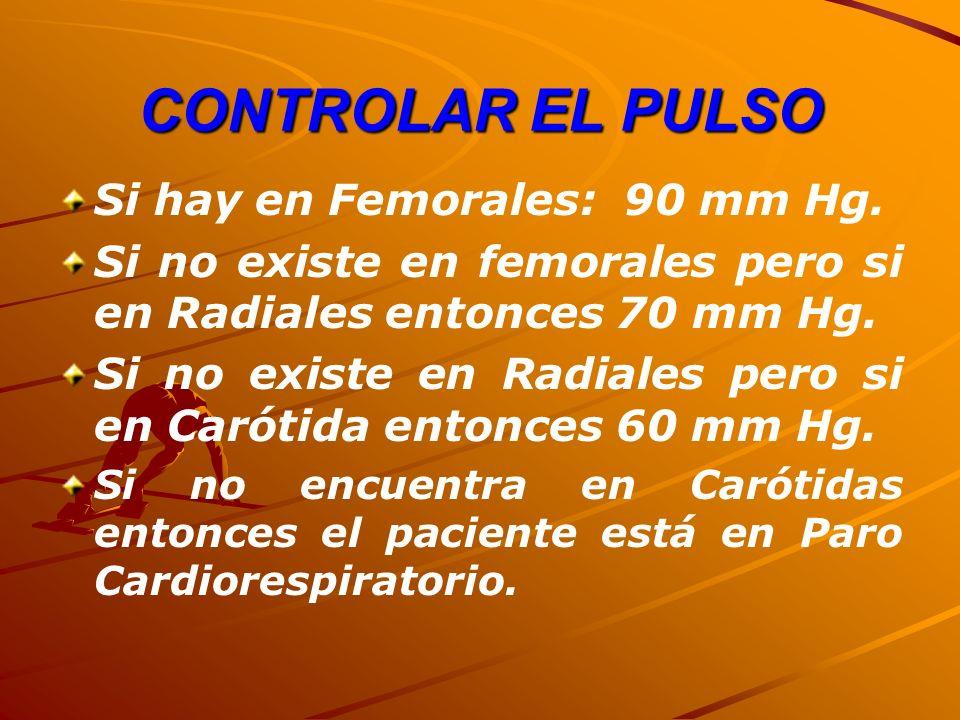 CONTROLAR EL PULSO Si hay en Femorales: 90 mm Hg.