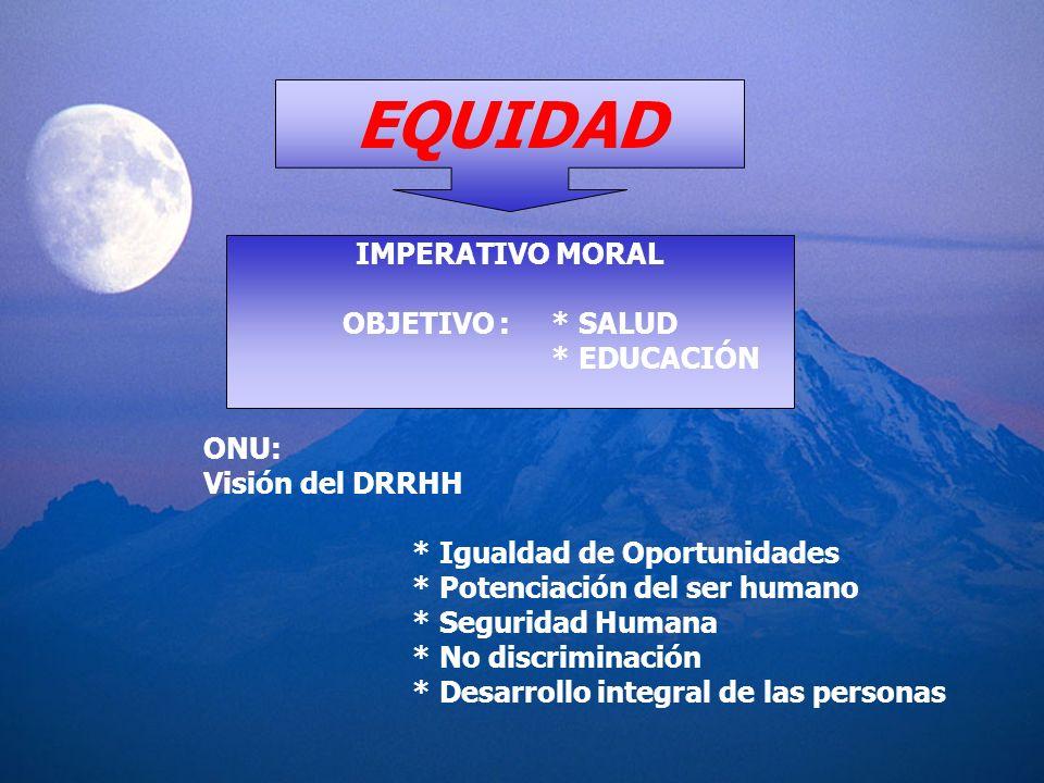 EQUIDAD IMPERATIVO MORAL OBJETIVO : * SALUD * EDUCACIÓN ONU: