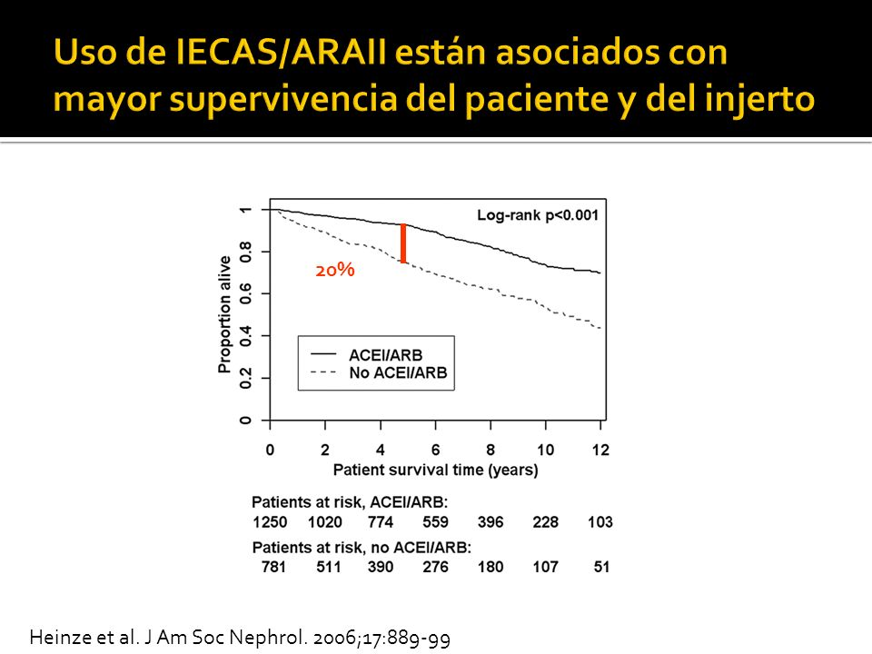 Uso de IECAS/ARAII están asociados con mayor supervivencia del paciente y del injerto