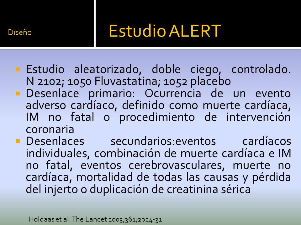 Diseño Estudio ALERT. Estudio aleatorizado, doble ciego, controlado. N 2102; 1050 Fluvastatina; 1052 placebo.