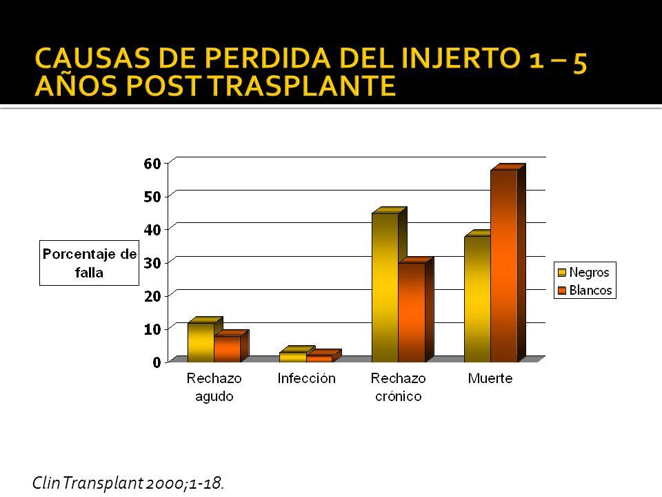 CAUSAS DE PERDIDA DEL INJERTO 1 – 5 AÑOS POST TRASPLANTE