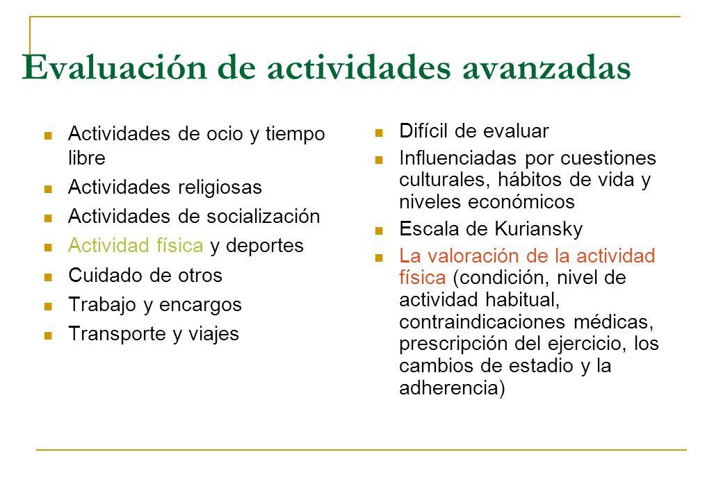 Evaluación de actividades avanzadas