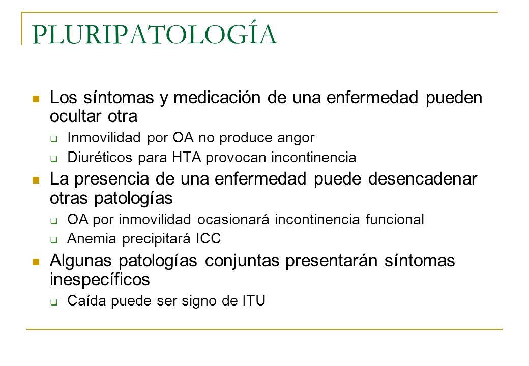 PLURIPATOLOGÍA Los síntomas y medicación de una enfermedad pueden ocultar otra. Inmovilidad por OA no produce angor.