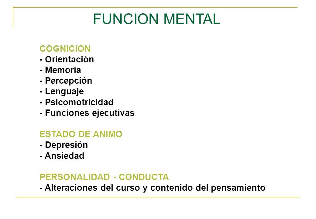 FUNCION MENTAL COGNICION - Orientación - Memoria - Percepción