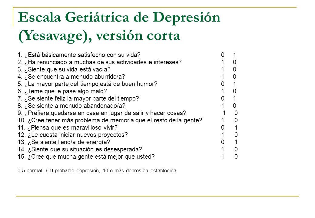 Escala Geriátrica de Depresión (Yesavage), versión corta