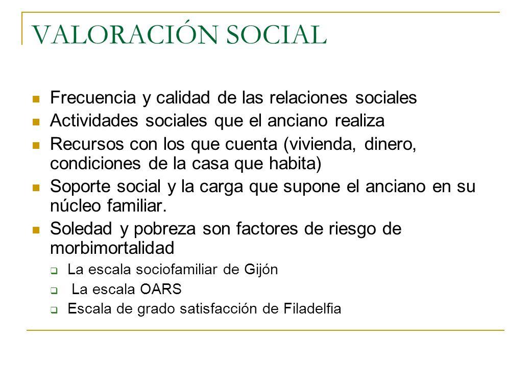 VALORACIÓN SOCIAL Frecuencia y calidad de las relaciones sociales