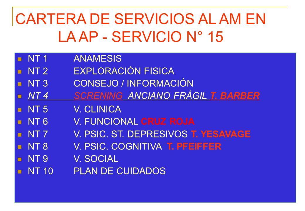 CARTERA DE SERVICIOS AL AM EN LA AP - SERVICIO N° 15