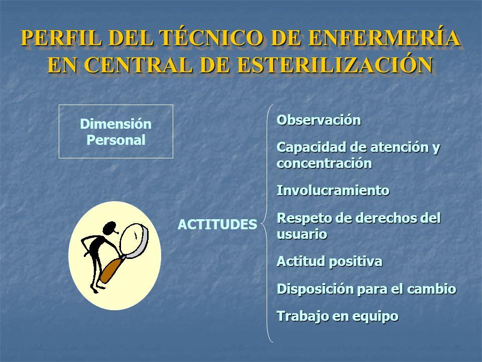 PERFIL DEL TÉCNICO DE ENFERMERÍA EN CENTRAL DE ESTERILIZACIÓN