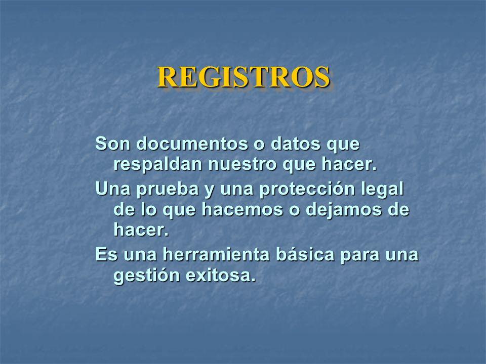 REGISTROS Son documentos o datos que respaldan nuestro que hacer.