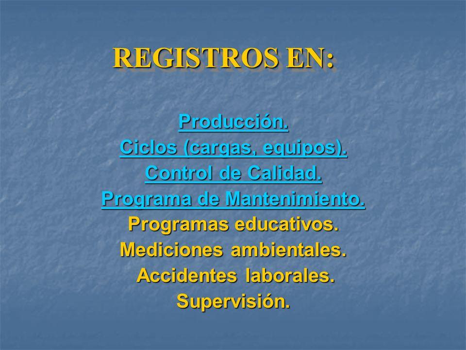 REGISTROS EN: Producción. Ciclos (cargas, equipos).