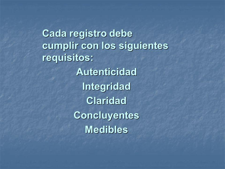 Cada registro debe cumplir con los siguientes requisitos: