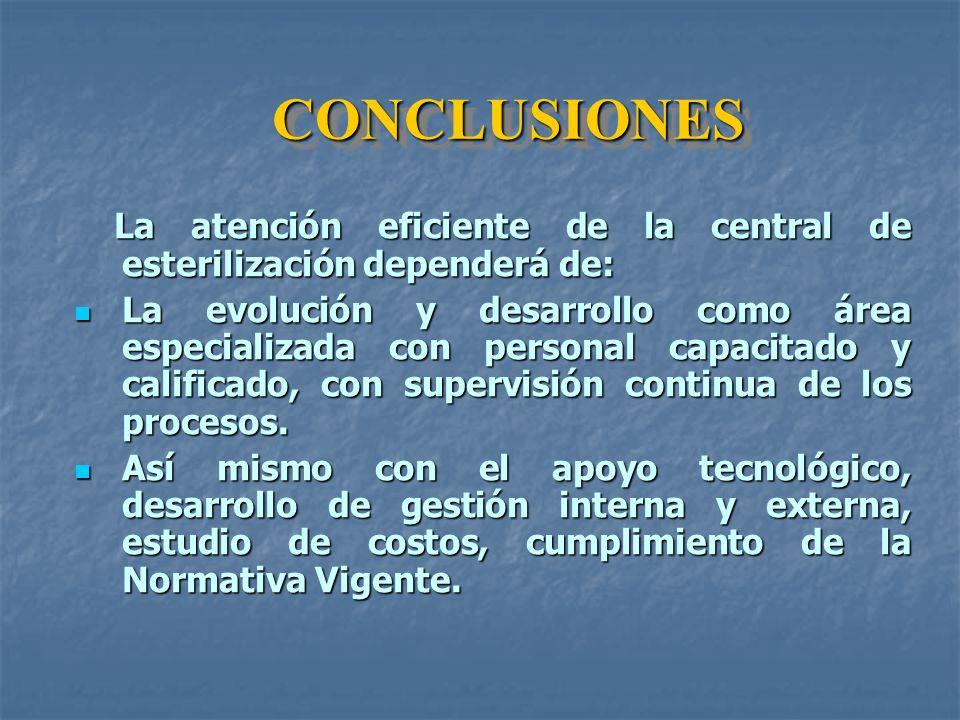 CONCLUSIONES La atención eficiente de la central de esterilización dependerá de: