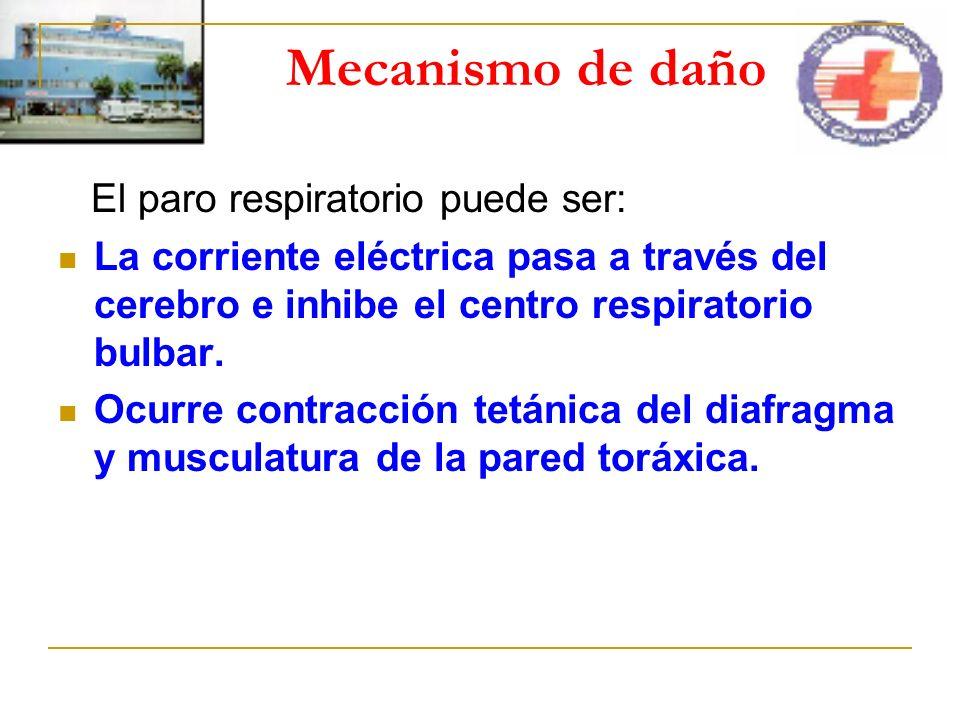 Mecanismo de daño El paro respiratorio puede ser: