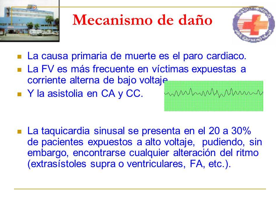 Mecanismo de daño La causa primaria de muerte es el paro cardiaco.