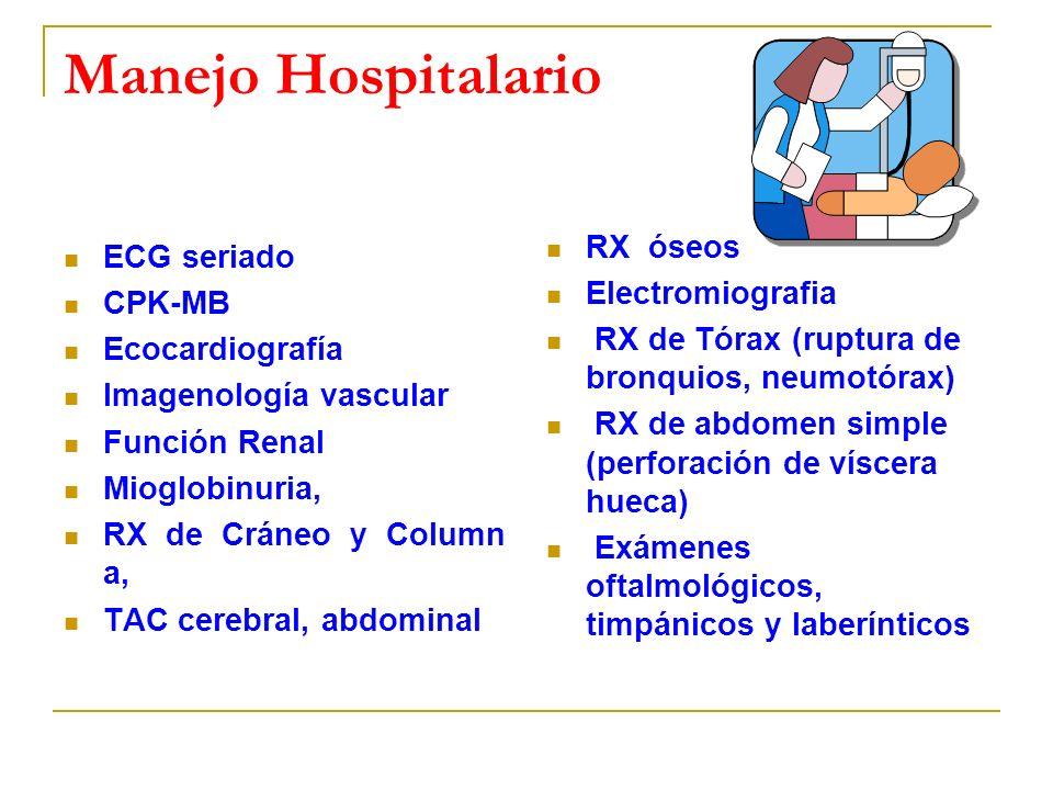 Manejo Hospitalario ECG seriado RX óseos CPK-MB Electromiografia