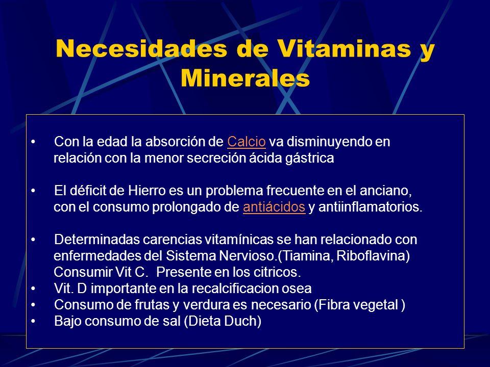 Necesidades de Vitaminas y Minerales