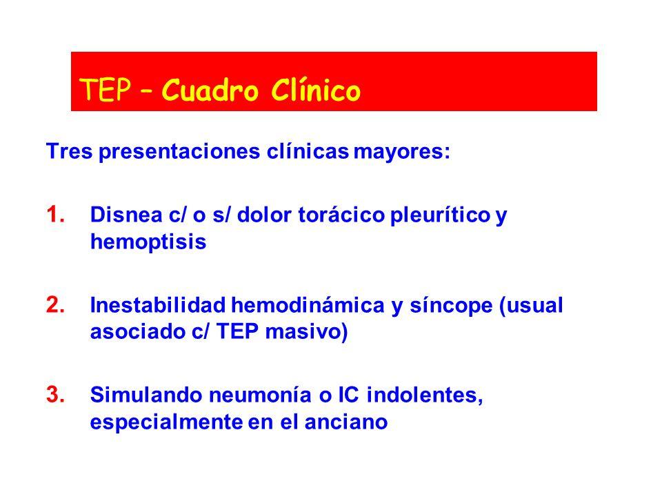 TEP – Cuadro Clínico Tres presentaciones clínicas mayores:
