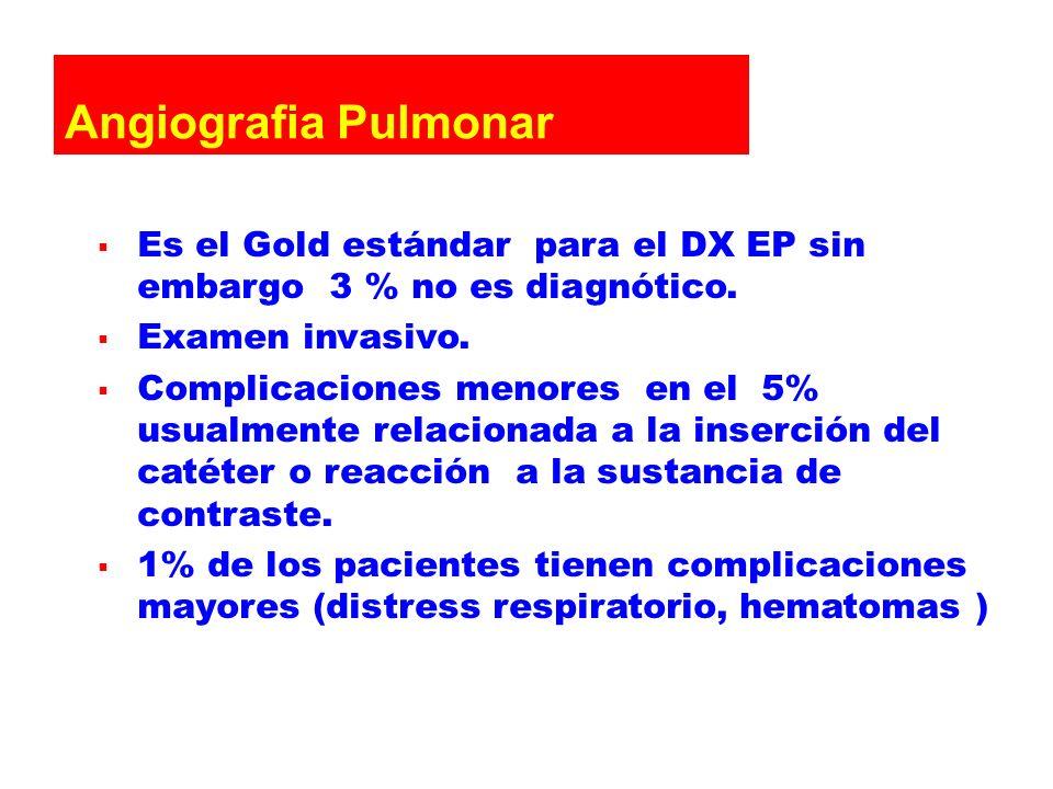 Angiografia Pulmonar Es el Gold estándar para el DX EP sin embargo 3 % no es diagnótico. Examen invasivo.