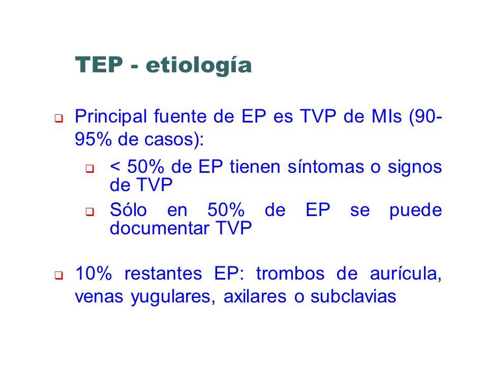 TEP - etiología Principal fuente de EP es TVP de MIs (90-95% de casos): < 50% de EP tienen síntomas o signos de TVP.