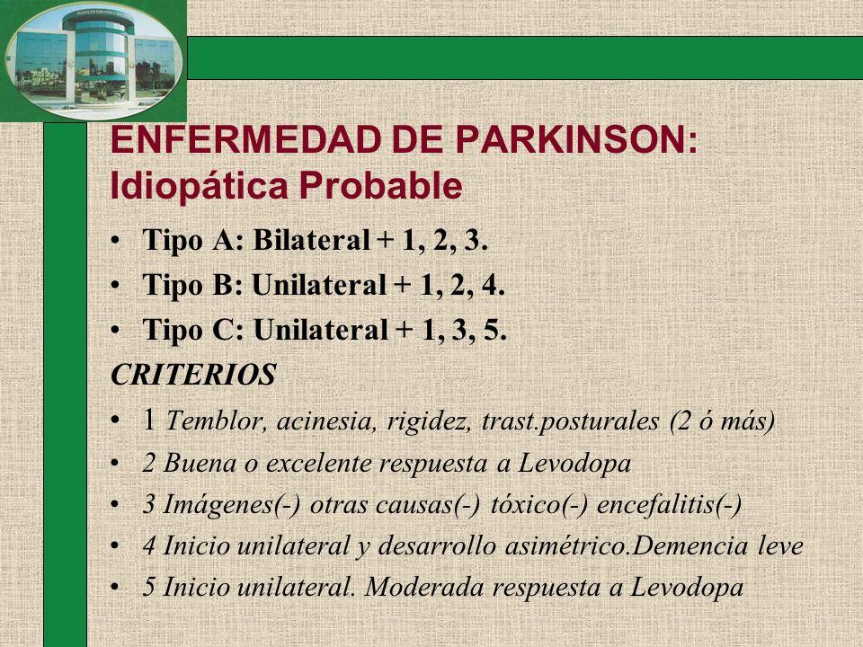 ENFERMEDAD DE PARKINSON: Idiopática Probable