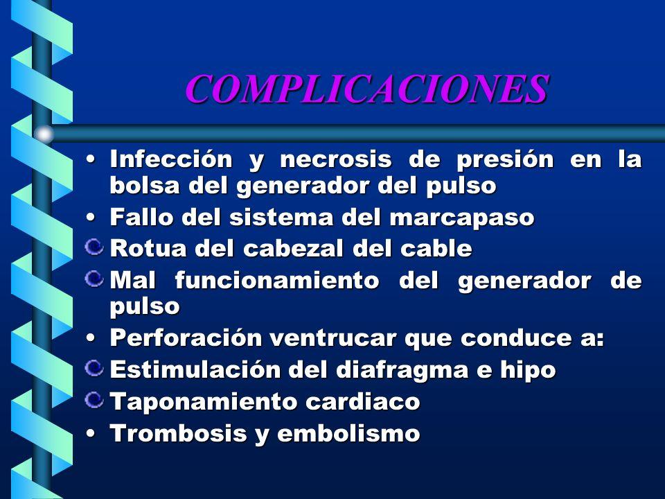 COMPLICACIONES Infección y necrosis de presión en la bolsa del generador del pulso. Fallo del sistema del marcapaso.