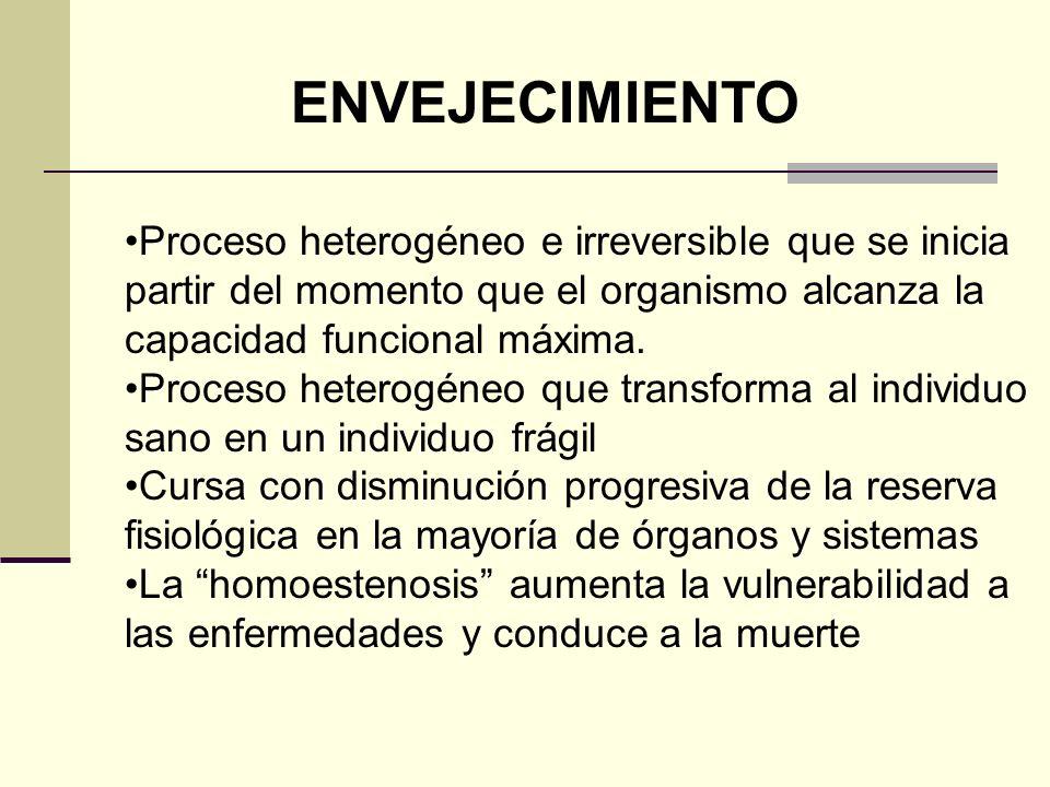 ENVEJECIMIENTO Proceso heterogéneo e irreversible que se inicia partir del momento que el organismo alcanza la capacidad funcional máxima.