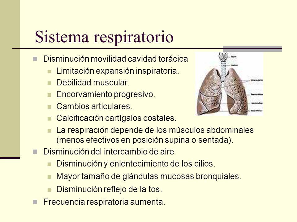 Sistema respiratorio Disminución movilidad cavidad torácica