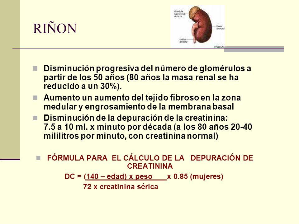FÓRMULA PARA EL CÁLCULO DE LA DEPURACIÓN DE CREATININA