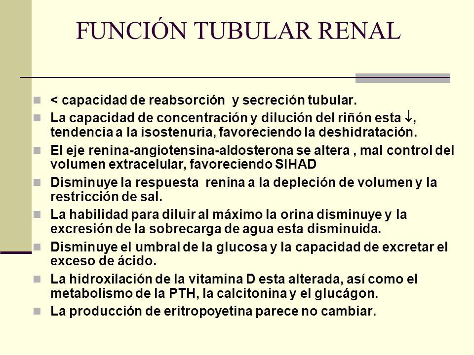 FUNCIÓN TUBULAR RENAL < capacidad de reabsorción y secreción tubular.