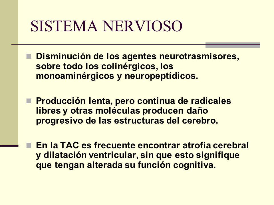 SISTEMA NERVIOSO Disminución de los agentes neurotrasmisores, sobre todo los colinérgicos, los monoaminérgicos y neuropeptídicos.