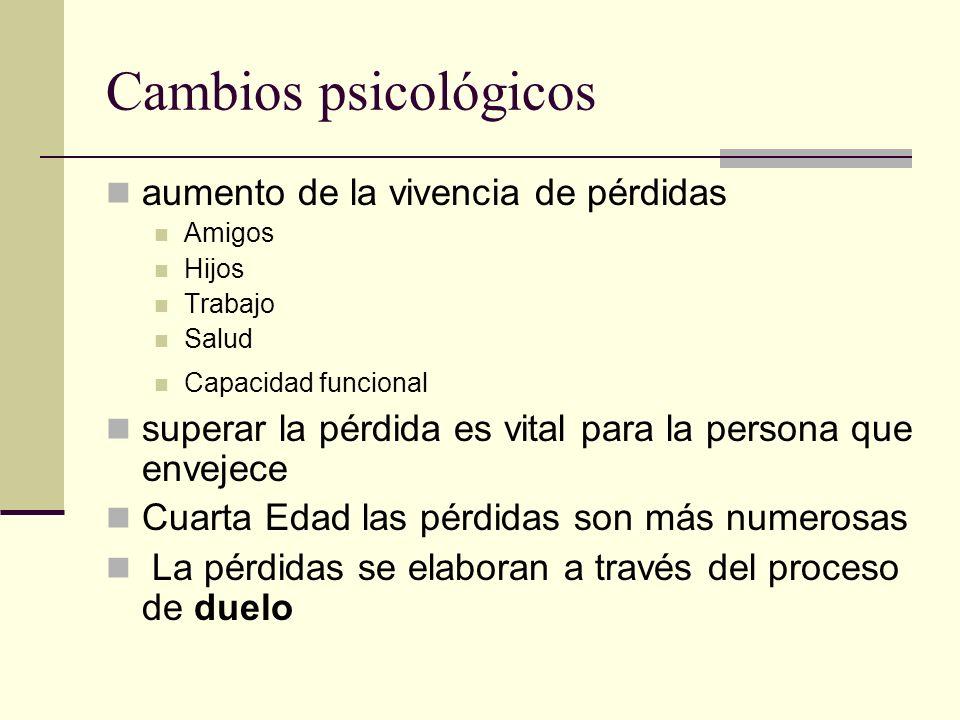 Cambios psicológicos aumento de la vivencia de pérdidas