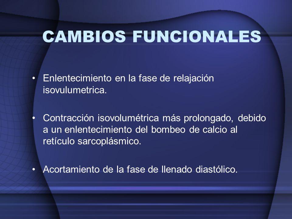 CAMBIOS FUNCIONALESEnlentecimiento en la fase de relajación isovulumetrica.